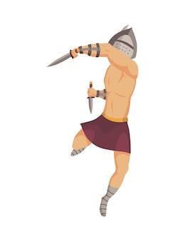 Gladiator uit het oude rome. vector roman krijger karakter in harnas met zwaarden. vlakke afbeelding in cartoon-stijl. militante man klaar voor de strijd