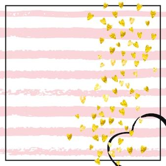 Glamour-banner. feestbrochure. roze retro print. decoratie schilderij. streep vakantie uitnodigen. geel scattertijdschrift. gouden huwelijksspray. gouden glamour banner