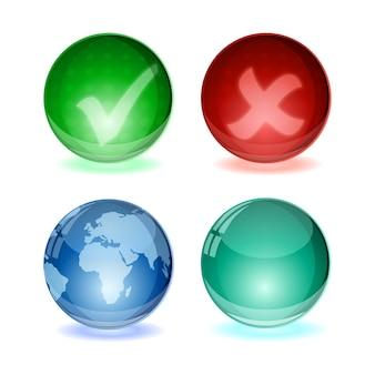 Glans bal concept wereldbol en vinkje pictogramserie