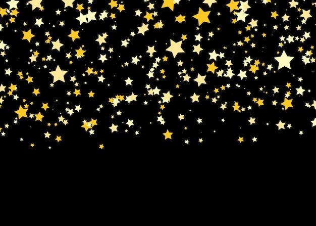 Glans confetti patroon vallende gouden sterren eenvoudige donkere achtergrond.