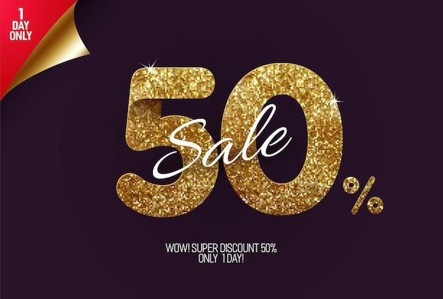 Glans gouden uitverkoop gemaakt van kleine gouden glittervierkanten, pixelstijl te koop en kortingsaanbiedingen.