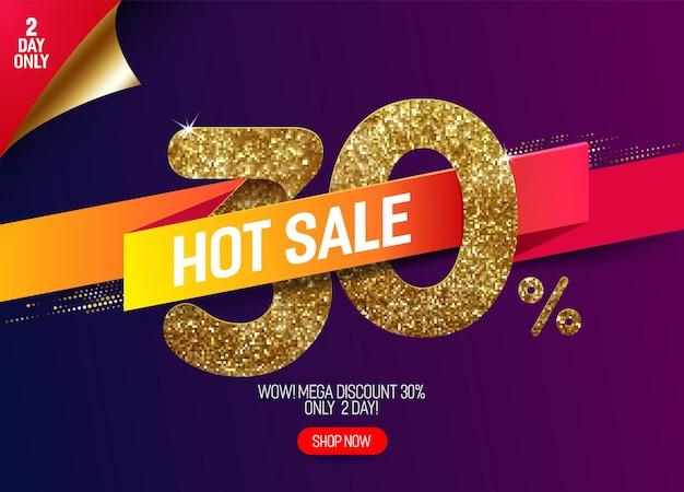 Glans gouden verkoop 30% korting met levendig papieren lint