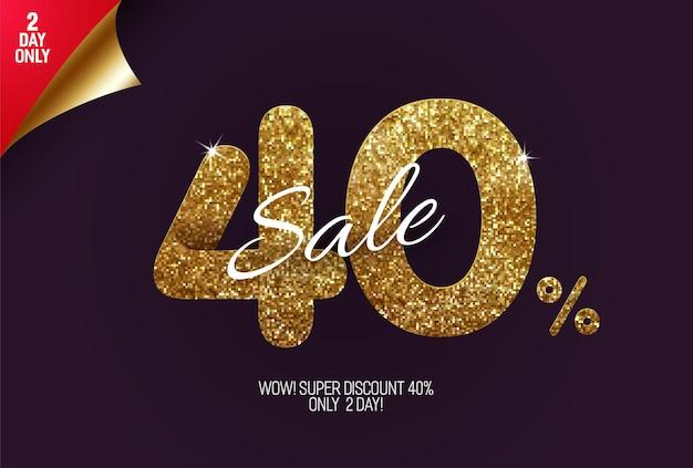 Glans gouden verkoop 40% korting, gemaakt van kleine gouden glitter vierkantjes, pixel stijl.