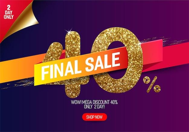 Glans gouden verkoop 40% korting met levendig papieren lint
