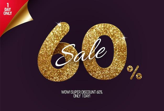 Glans gouden verkoop, gemaakt van kleine gouden glittervierkanten, pixelstijl.