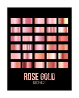 Glans rose goud kleurovergang folie textuur set geïsoleerd op zwart