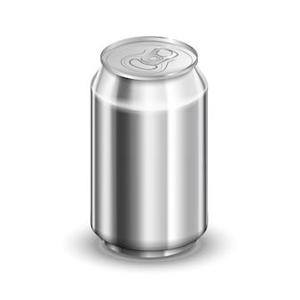 Glanzend aluminium blikje, frisdrank of bier sjabloon op wit
