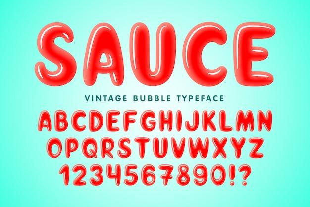 Glanzend bubbel komisch lettertypeontwerp