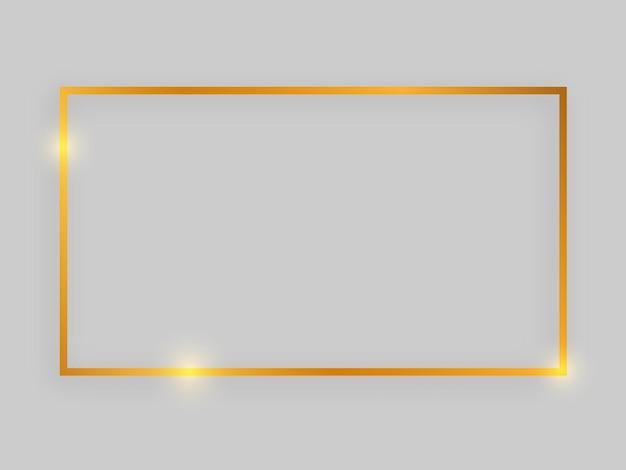 Glanzend frame met gloeiende effecten. gouden rechthoekig frame met schaduw op grijze achtergrond. vector illustratie