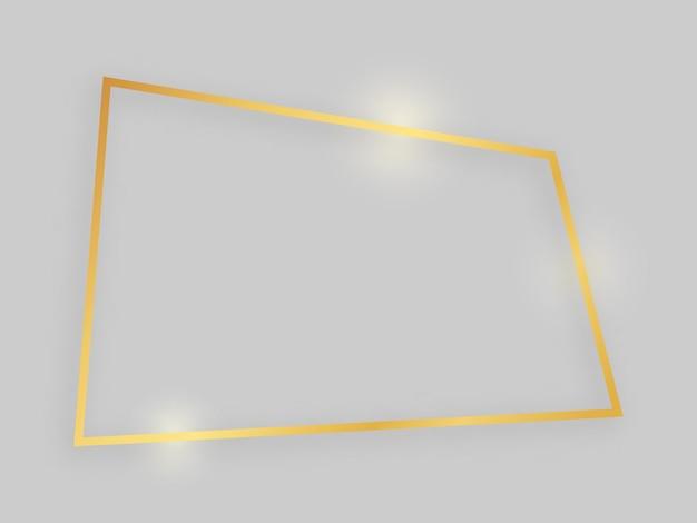 Glanzend frame met gloeiende effecten. gouden vierhoekig frame met schaduw op grijze achtergrond. vector illustratie