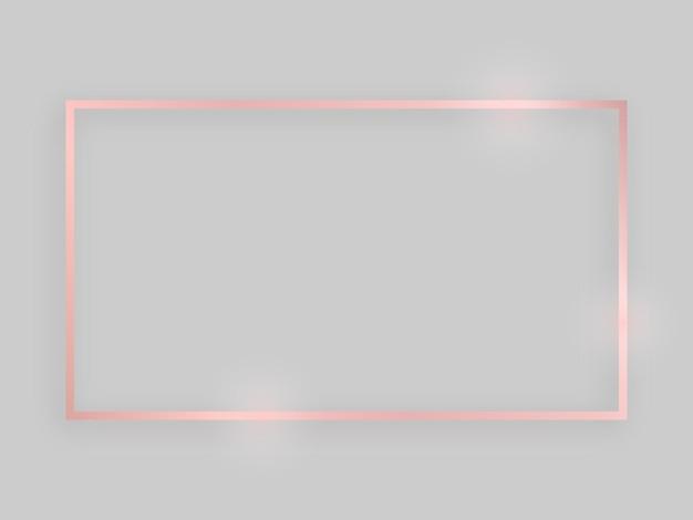 Glanzend frame met gloeiende effecten. rose goud rechthoekig frame met schaduw op grijze achtergrond. vector illustratie