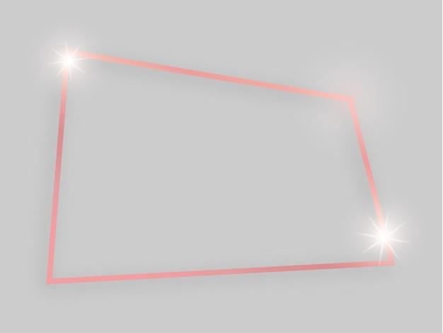 Glanzend frame met gloeiende effecten. rose goud vierhoekig frame met schaduw op grijze achtergrond. vector illustratie