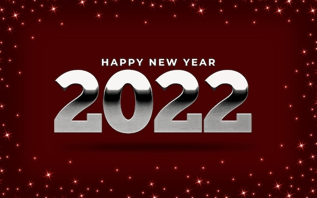 Glanzend gelukkig nieuwjaar 2022 banner met sterren