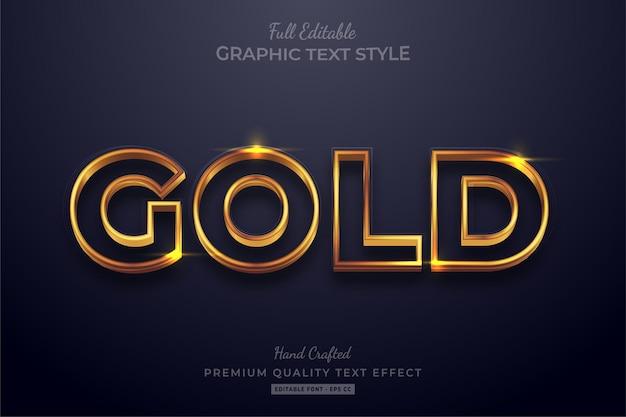 Glanzend goud bewerkbaar teksteffect lettertypestijl