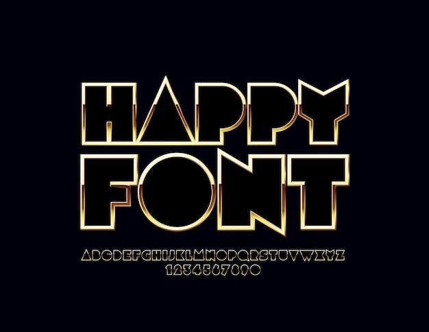 Glanzend gouden alfabet. luxe set originele letters en cijfers