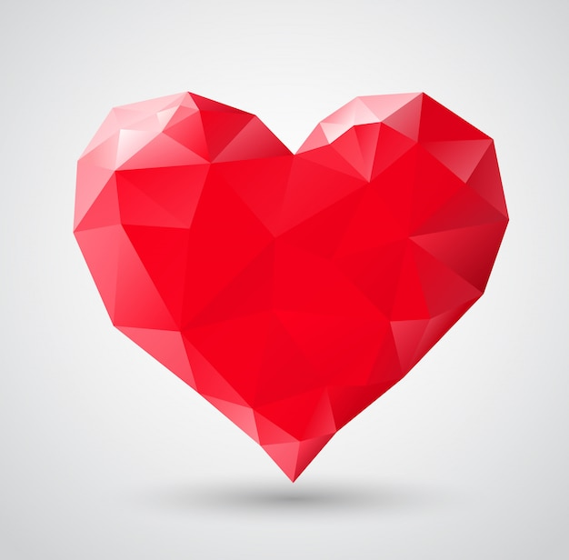 Glanzend hart edelsteen symbool
