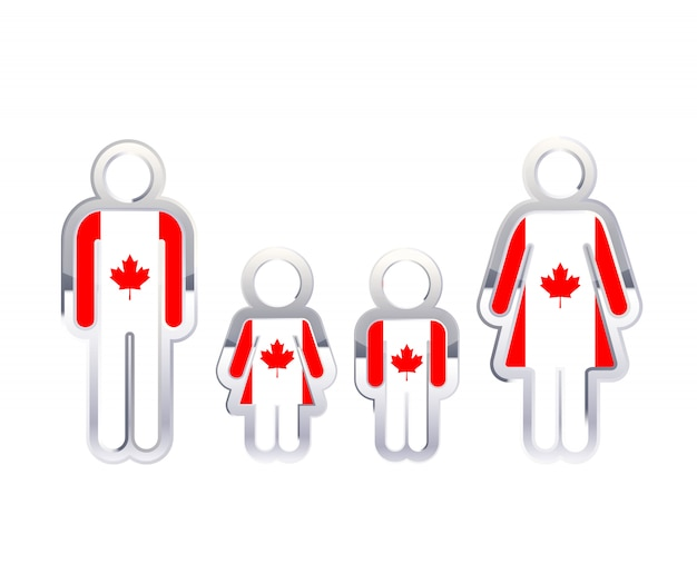 Glanzend metalen kentekenpictogram in de vormen van man, vrouw en kinderen met de vlag van canada, infographic element op wit