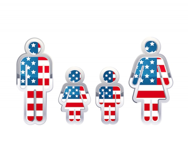 Glanzend metalen kentekenpictogram in de vormen van man, vrouw en kinderen met de vlag van de vs, infographic element op wit