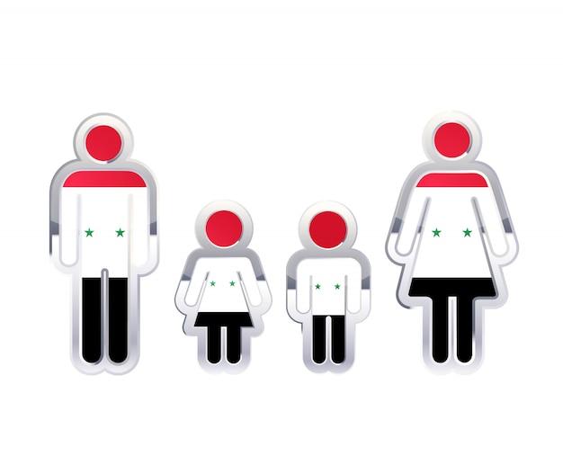 Glanzend metalen kentekenpictogram in de vormen van man, vrouw en kinderen met de vlag van syrië, infographic element op wit