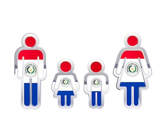 Glanzend metalen kentekenpictogram in vormen voor man, vrouw en kinderen met de vlag van paraguay, infographic element op wit