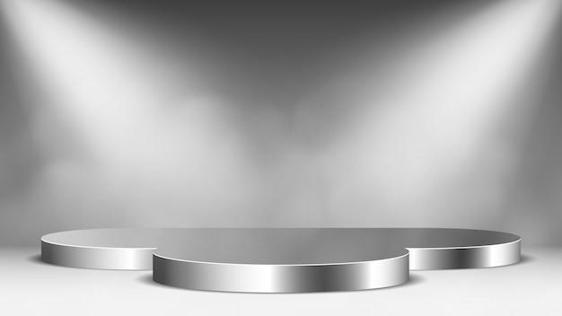 Glanzend metalen podium met schijnwerpers en stoom. voetstuk. illustratie.
