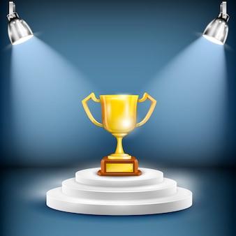 Glanzend podium met trofee beker