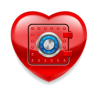 Glanzend rood hart als kluis
