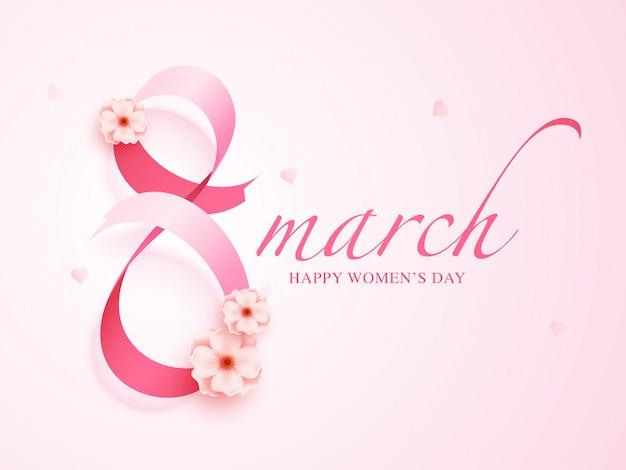 Glanzend roze lint gerangschikt in vorm 8 maart versierd met bloemen voor happy women's day.