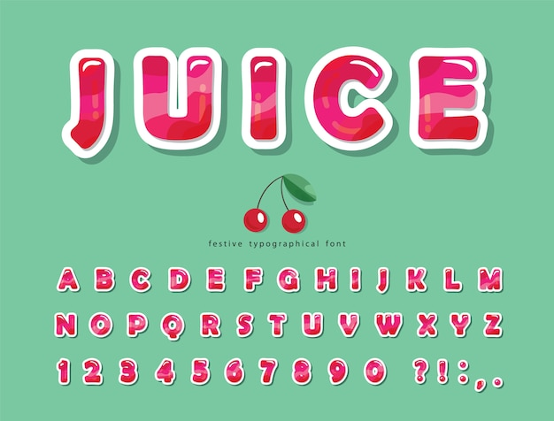 Glanzend roze zomer trendy lettertype. cartoon decoratieve alfabet.