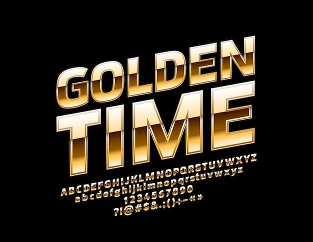 Glanzend teken golden time chic gedraaid alfabetletters cijfers en symbolen