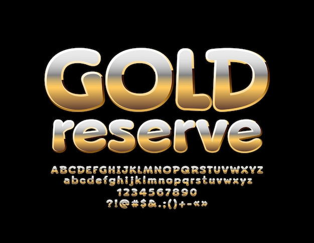 Glanzend teken goudreserve metallic kleurovergang lettertype chique vet
