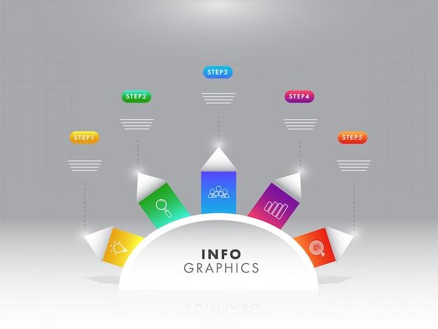 Glanzend tijdlijn infographic sjabloonontwerp met vijf verschillende
