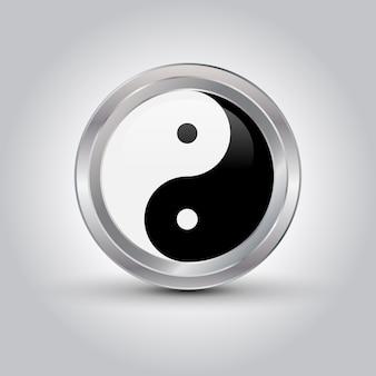 Glanzend ying yang-symbool