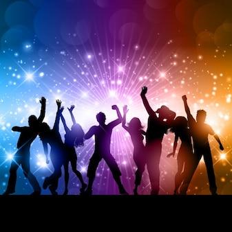 Glanzende achtergrond met dansende mensen silhouetten