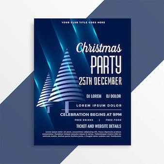Glanzende blauwe flyer-sjabloon voor kerstfeest