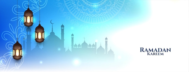 Glanzende blauwe kleur ramadan kareem heilige maand bannerontwerp