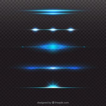 Glanzende blauwe lens flare divider collectie