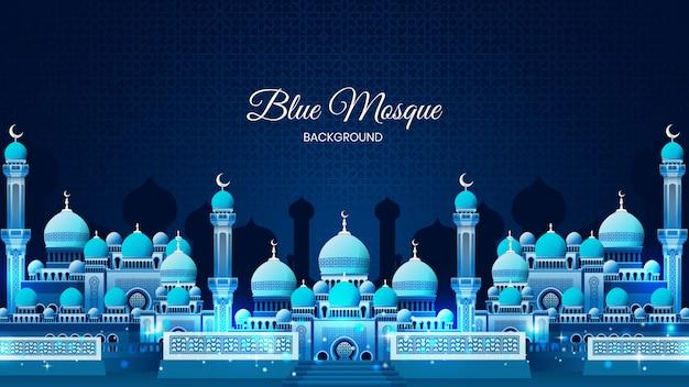 Glanzende blauwe moskee achtergrond