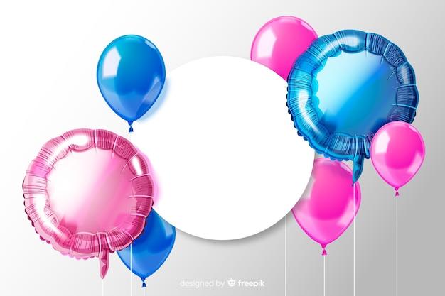 Glanzende driedimensionale ballonachtergrond met lege banner