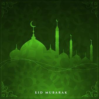 Glanzende eid mubarak groene kleur ontwerp achtergrond