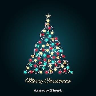 Glanzende elementen kerstboom achtergrond