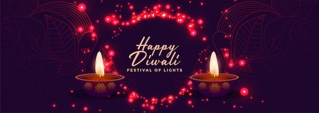 Glanzende en gloeiende gelukkige diwali festival banner