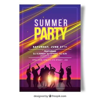 Glanzende feestbrochure met mensen op het strand