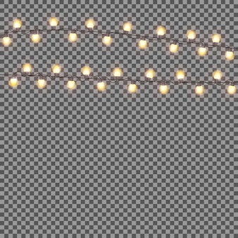 Glanzende garland met gloeilamp op transparante achtergrond. chris