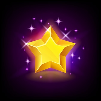 Glanzende gele ster met glitters, slotpictogram voor online casino of logo voor mobiel spel op donker