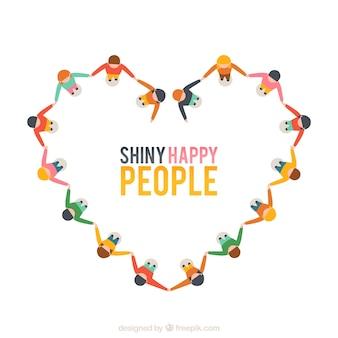 Glanzende gelukkige mensen