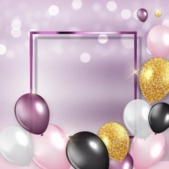 Glanzende gelukkige verjaardag ballonnen achtergrond met frame