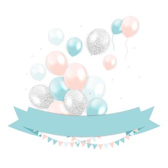 Glanzende gelukkige verjaardag ballonnen achtergrond vectorillustratie eps10