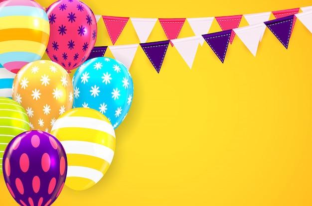 Glanzende gelukkige verjaardag ballonnen achtergrond