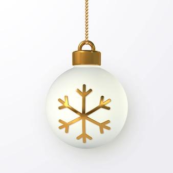 Glanzende glitter gloeiende kerstballen met gouden sneeuwvlok. kerst glazen bol. vakantie decoratie sjabloon. vector illustratie.